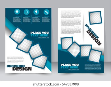 Abstract flyer design background. Brochure template. Annual report cover. Can be used for magazine, business mockup set, education, presentation. Vector illustration a4 size.  Blue color.