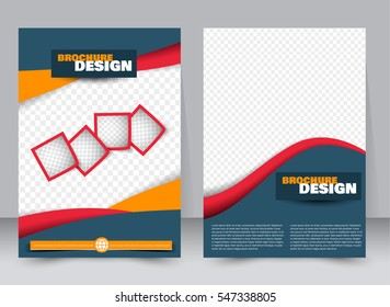Abstract flyer design background. Brochure template. Annual report cover. For magazine, business mockup set, education, presentation. Vector illustration a4 size.  Blue, orange, and red color.