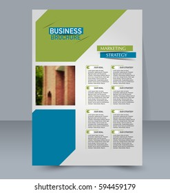 Abstract flyer design background. Brochure template. For magazine cover, business mockup, education, presentation, report. Vector illustration. Blue and green color.