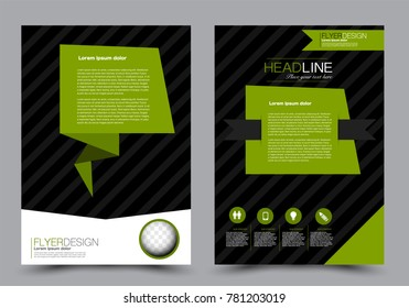 Abstract flyer template.  Black and green color. Vector illustration.