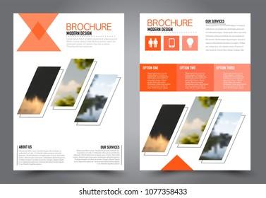 Abstract flyer template. Business brochure design. For education, school, business, presentation. Orange color. Vector illustration.