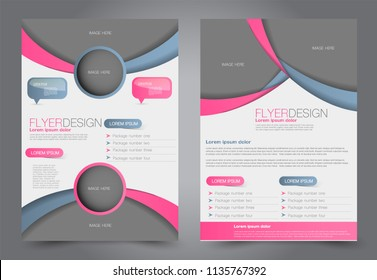 Abstract flyer template. Business brochure design. Pink and grey color. Vector illustration.