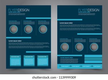 Abstract flyer template. Business brochure design. Blue color. Vector illustration.