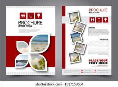Abstract flyer template. Business brochure design. For education, school, business, presentation. Red color. Vector illustration.