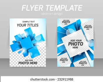 Abstract flyer template design with 3d squares