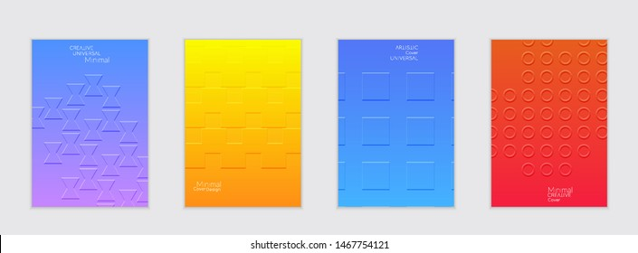 Abstract flyer templates with bright gradient and simple geometric shapes. Minimalist design with embossed effect.