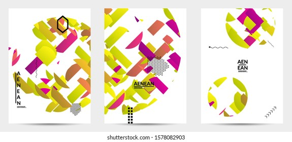 Abstract flyer templates with circle filled with bright colored stripes on white. Dynamic modern design with geometric shapes. Simple colorful futuristic elements.