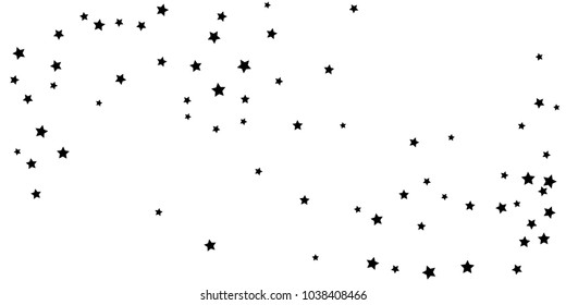 Abstract flying confetti star. A falling star background. Casual black stars shine on a white background. Suitable for your design, cards, invitations, gifts.