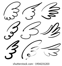 abstract flying dove sketch set icon collection cartoon hand drawn vector illustration sketch