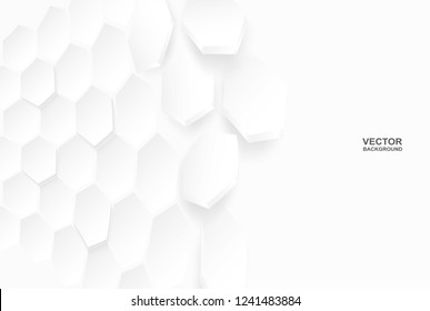 Abstract . Flying polygon Hexagon white background ,light and shadow. Vector