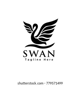 Abstract flying swan art logo