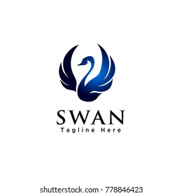 Abstract flying swan logo