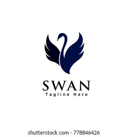 Abstract flying swan logo