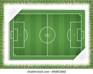Abstract football field or soccer field attached in white paper sheet with grass frame. Vector illustration.