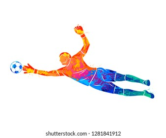 Abstract football goalkeeper is jumping for the ball Soccer from a splash of watercolors. Vector illustration of paints.