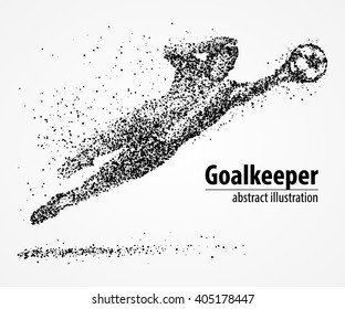 Abstract football goalkeeper jumping in black circles. Vector illustration.