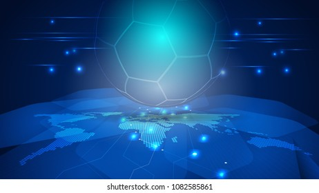 Abstract football line on digital background. Illustration vector conceptual world soccer
