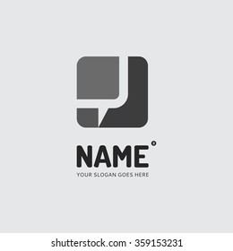 Abstract form and chat bubble, logo design vector template. Company, mobile app, symbol concept icon.