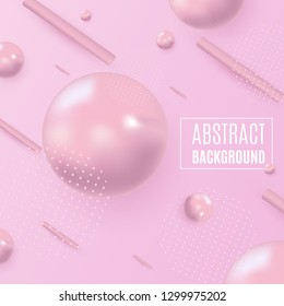 Abstract form of fluid. Liquid design. Isolated gradient waves with geometric lines, dots and lines. Vector illustration on pink background. For brochures and posters advertising.