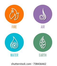Abstract Four Elements (Fire, Air, Water, Earth) Line Symbols On Circles