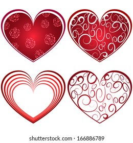 Abstract four red heart shapes isolated on white background.
