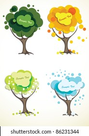 Abstract four season trees, vector illustration.