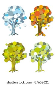 Abstract four season trees, vector illustration set.