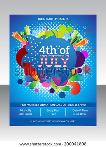 abstract fourth july flyer template vector stock vector royalty
