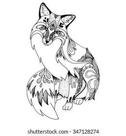 Abstract fox . Ornate isolated vector illustration. Hand drawn animal drawing.