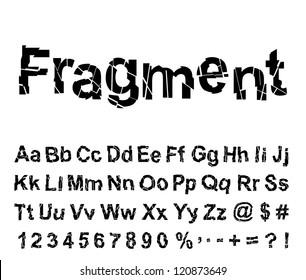 Abstract fragment font. Vector illustration.