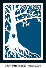 Abstract frame with family tree. May be used for laser cutting. Laser cut tree vector invitation template. Die cut tree paper card design. Silhouette cameo.