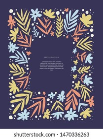 Abstract frame with leaves vector template. Floral vintage border for text on dark blue background. Wedding invitation, spring holiday poster, article scandinavian style design idea