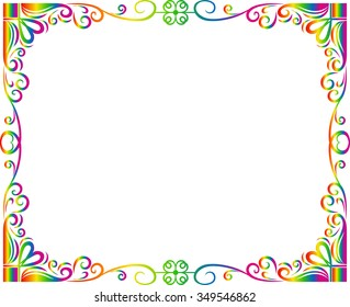 Abstract frame line in rainbow (spectrum) colors, vector