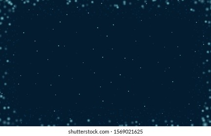 Abstract frame made by shining stars on a dark blue background of the starry sky. Circular vector shapes shrink from the edges to the center of the frame