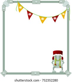 Abstract frame made of metal with robot. Christmas version. Vector.