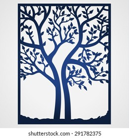 Abstract frame with tree. May be used for lasercutting. Lazercut tree vector invitation template. Lazer cut vector. Die cut tree paper card design. Silhouette cameo.