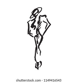 Abstract free unisex model in hat and jacket (toreador style), hand drawn ink doodle, sketch, outline black and white vector fashion illustration