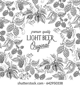 Abstract fresh light beer vintage template with hop herbal plants in hand drawn style vector illustration