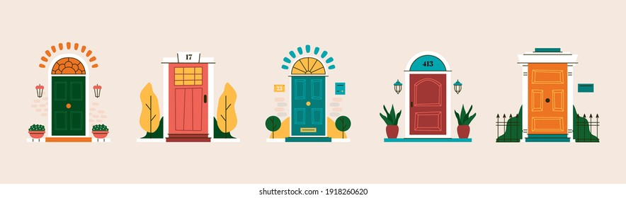 Abstract front door set. Colorful entries exterior design in retro style. Vintage house facade drawings in vector