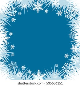 Abstract frost snowflake window border frame vector background.