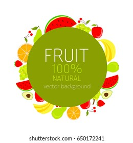 Abstract fruit card, organic fruit, vector illustration, fresh food, organic food, healthy food, vector background, greenery