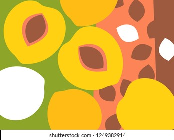 Abstract fruit design in flat cut out style. Peaches and peach pits. Vector illustration.