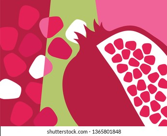Abstract fruit design in flat cut out style. Pomegranate and seeds. Vector illustration.