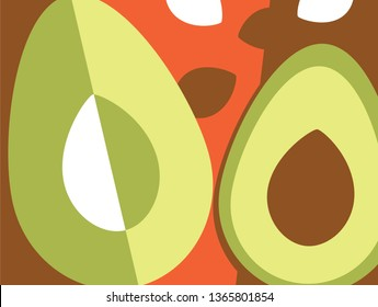 Abstract fruit design in flat cut out style. Avocados. Vector illustration.