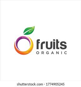 Abstract Fruit Logo Design Nature Organic. Initial Letter O Fruit Logo Design Template. Circle Fresh Fruit Logo Icon