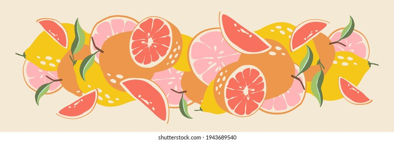 Abstract fruits. Composition citrus fresh. Lemon and grapefruit. Healthy food for vegan in modern style, colorful fruit vector set. Horizontal illustration. Border line. Vitamin C