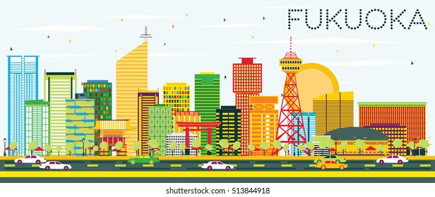 Abstract Fukuoka Skyline with Color Buildings and Blue Sky. Vector Illustration. Business Travel and Tourism Concept with Modern Architecture. Image for Presentation Banner Placard and Web Site.