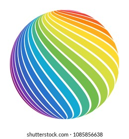 Abstract full color rainbow spectrum striped ball. Swirl sphere for business concept or logo design. Isolated round icon on white.