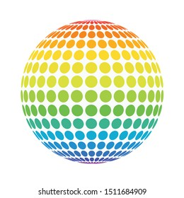 Abstract full color rainbow spectrum dotted sphere. Spotted ball for business concept or logo design. Isolated round icon on white.