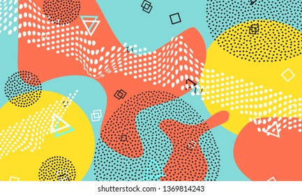 Abstract fun background. Colour shapes pattern. Splash fun backdrop. Vector Illustration.